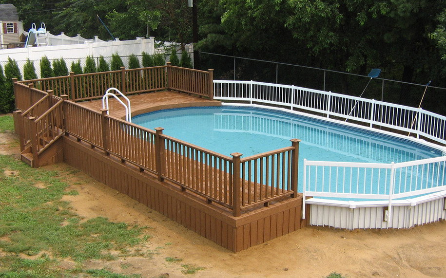 Above ground oval pool decks pool design ideas for Above ground pool decks for sale
