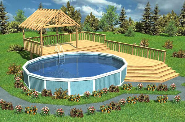 Above ground pool deck design ideas pool design ideas for Deck from house to above ground pool