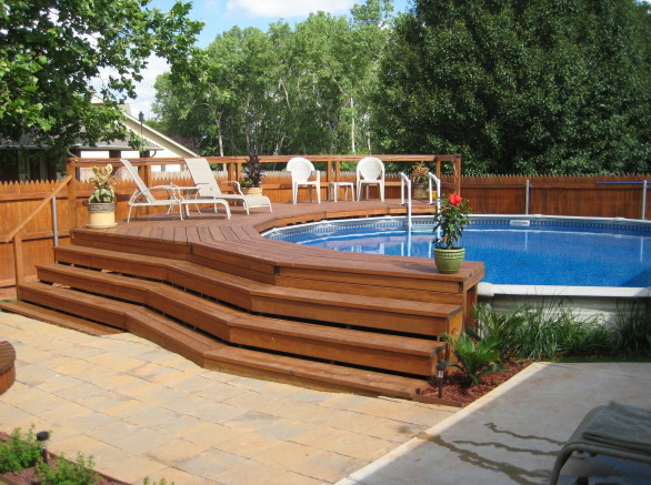 above ground pools and decks pictures - Above Ground Pool Deck