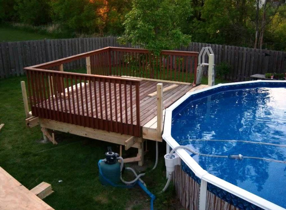 Above ground pools deck designs pool design ideas for Pool deck design plans