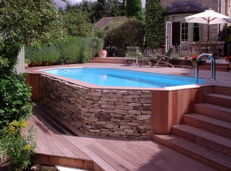 Above ground saltwater swimming pools pool design ideas for In ground pool deck ideas