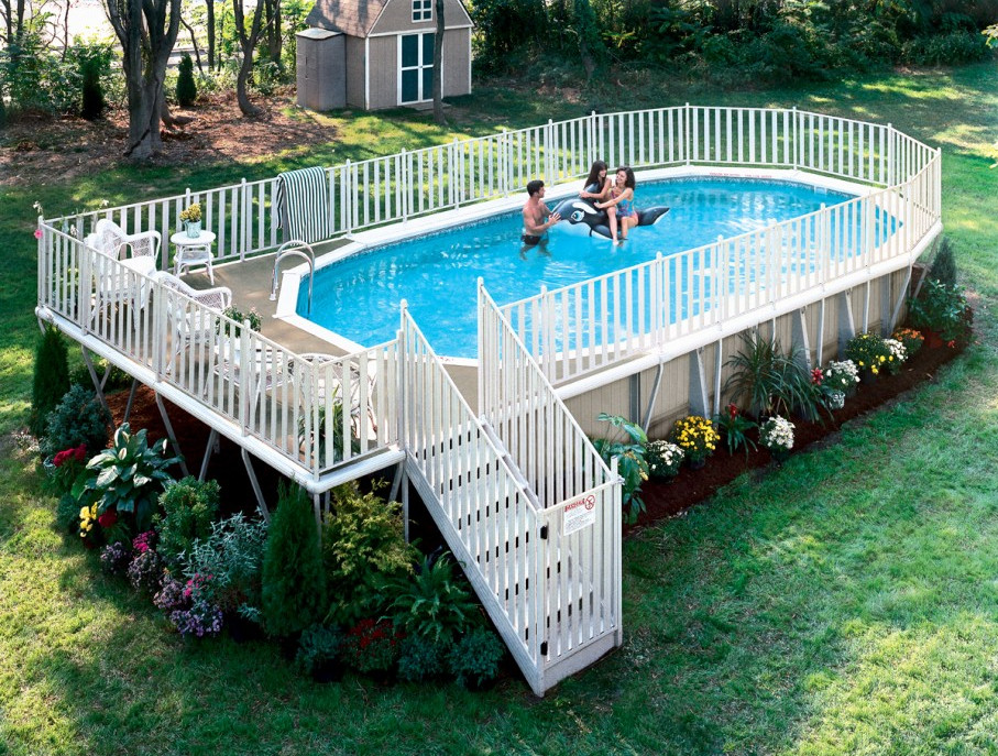 Above ground swimming pool ladders pool design ideas for Above ground pool ladder ideas