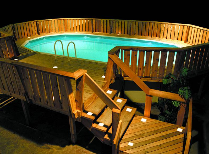 Excellent options for decoration above swimming pools at for Above ground pool lighting ideas