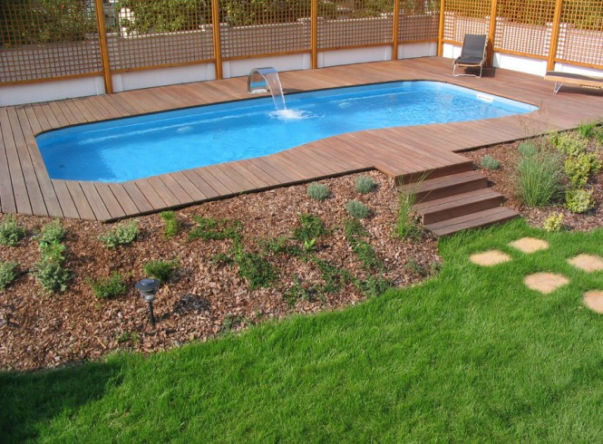 Backyard Landscape With Pool