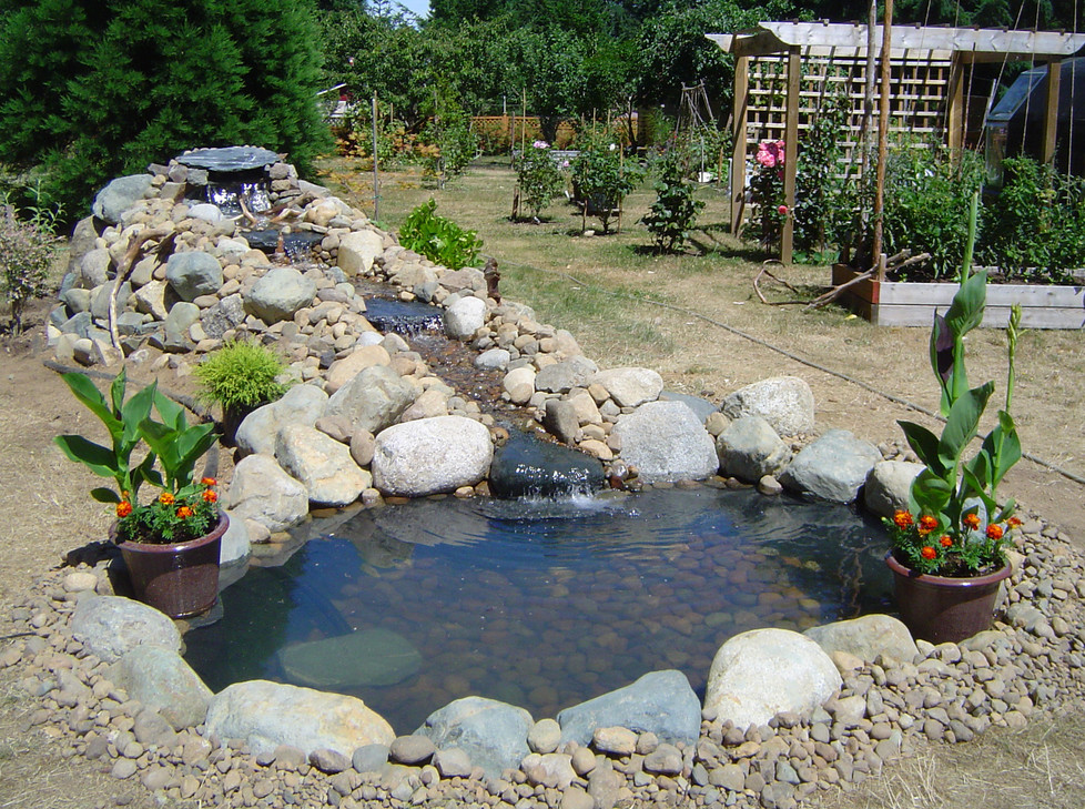 Backyard pond ideas with waterfall pool design ideas for How to build a koi pond on a budget