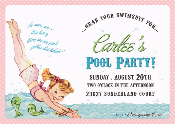 Cute Pool Party Invitations