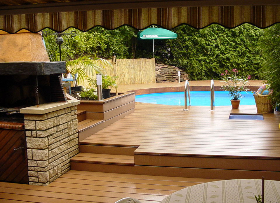Deck ladders for above ground pools pool design ideas for Deck from house to above ground pool