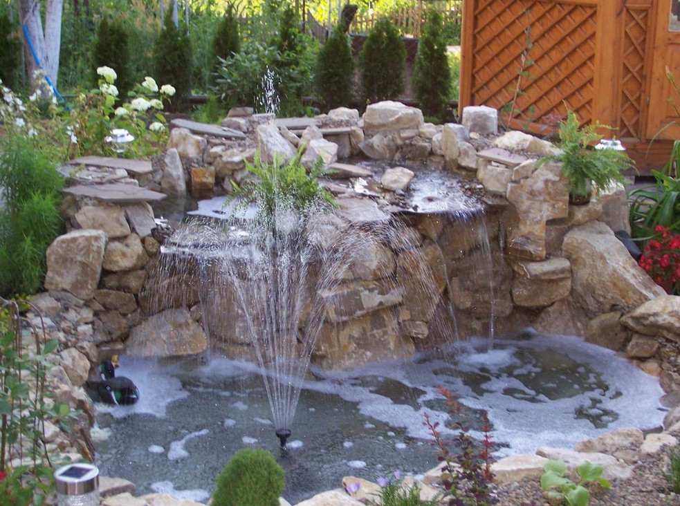 Farm pond fountains pool design ideas for Pond with fountain