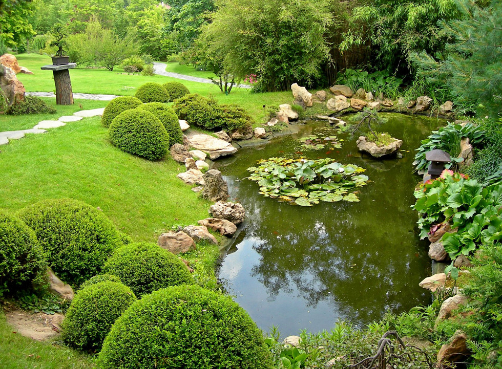 Two steps to use modern landscape pond ideas for garden for Garden with pond