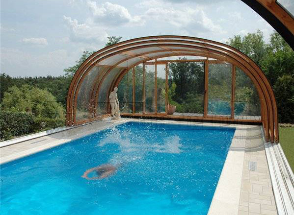 Indoor outdoor pool enclosure pool design ideas for Indoor garden pool