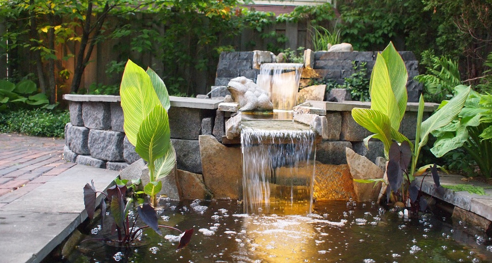 Modern pond waterfall design pool design ideas for Modern garden pond designs