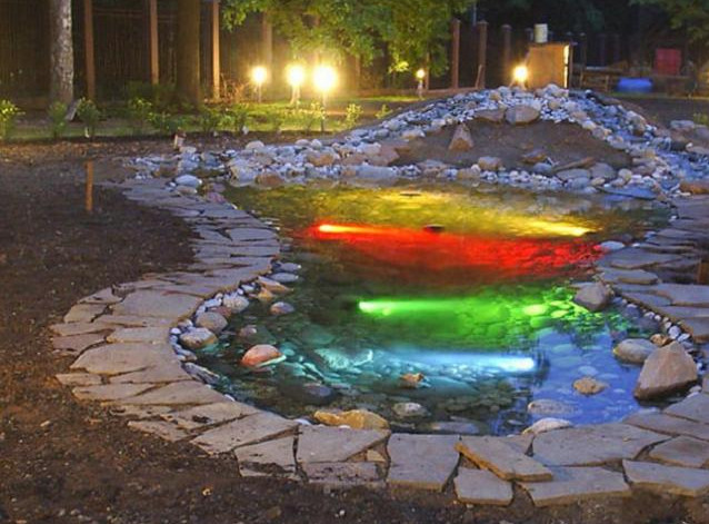 Outdoor Water Features With Lights