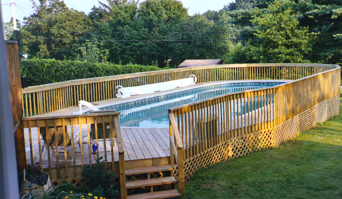 Oval Above Ground Pool With Deck Design Ideas