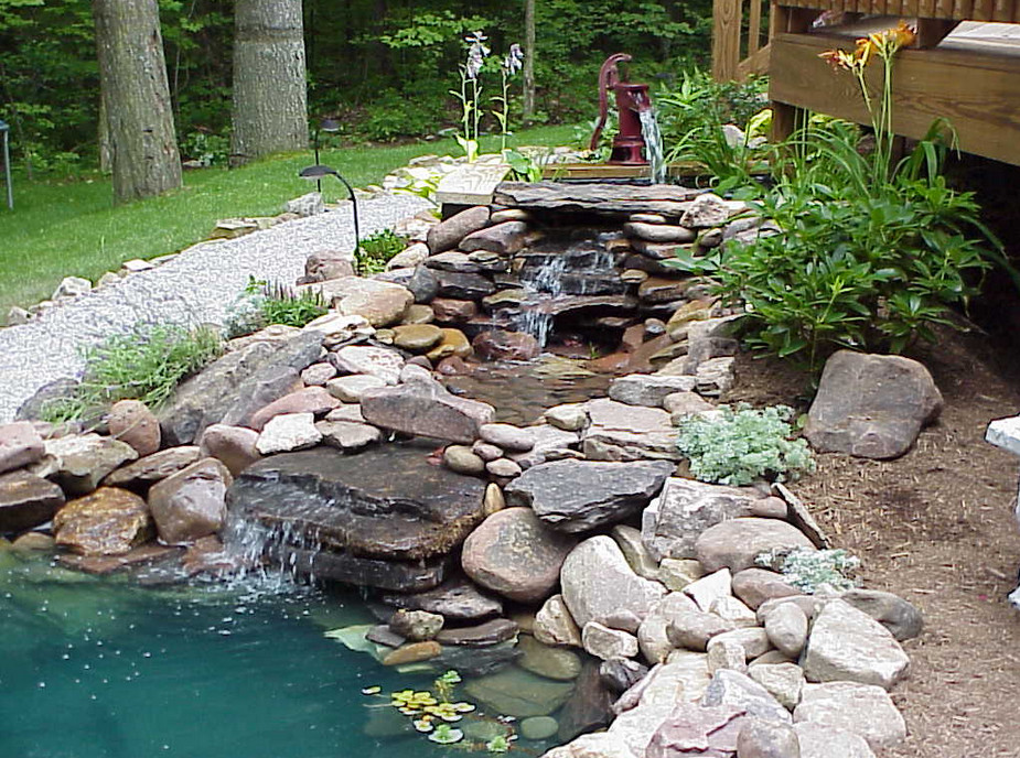 Pond waterfall design ideas pool design ideas for Fish pond fountain design