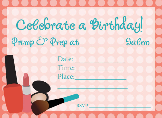 Spa Birthday Party Invitations for Kids