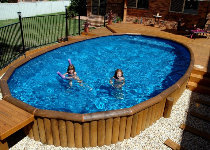 Wood Decks Around Above Ground Pools