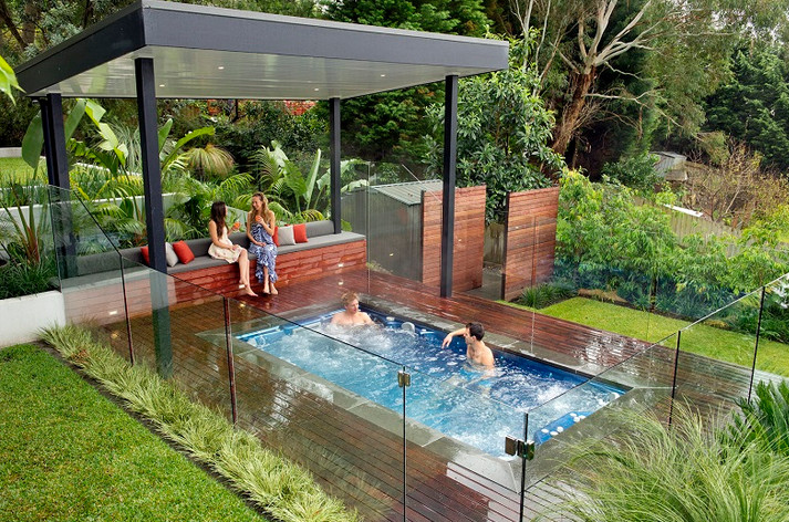 Above ground pool with hot tub pool design ideas for Pool design with hot tub