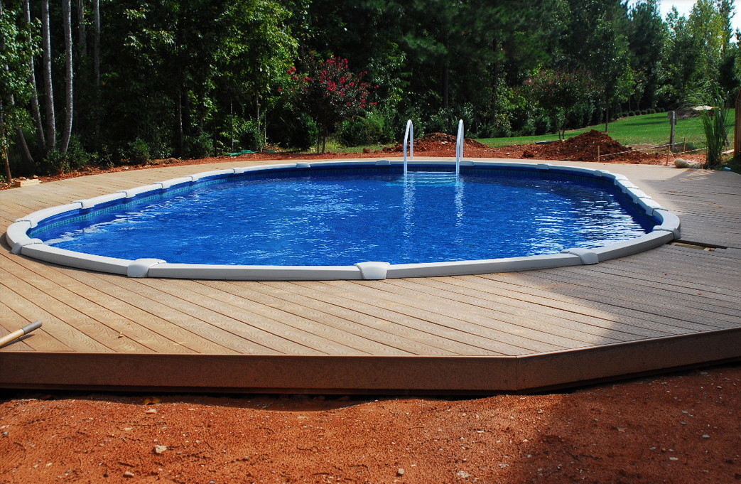 Above ground pools semi inground pool design ideas for Inexpensive in ground pool ideas