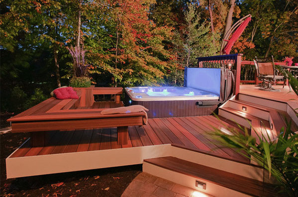 backyard deck designs with hot tub