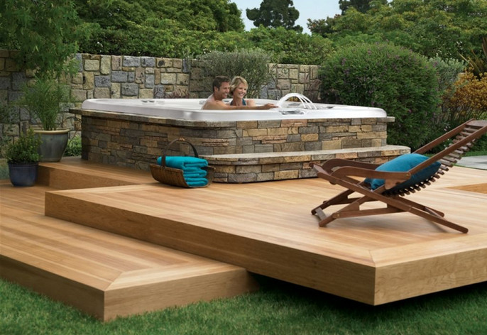 Pin Back Yard With Hot Tub Deck Ideas on Pinterest