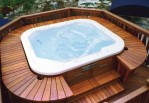 backyard designs with hot tub