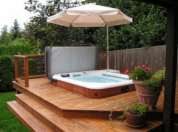 Backyard hot tub design ideas pool design ideas for Hot tub deck designs plans