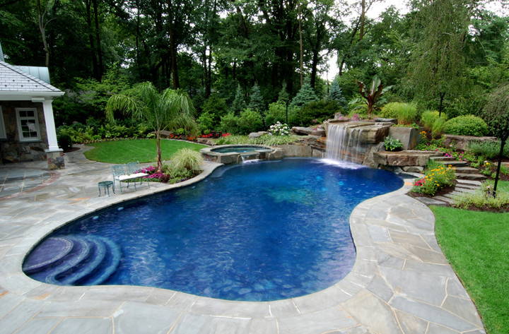 Backyard pool and spa ideas pool design ideas for Swimming pool spa designs