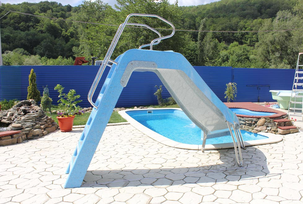 Backyard pools with slides pool design ideas for Pool design with slide