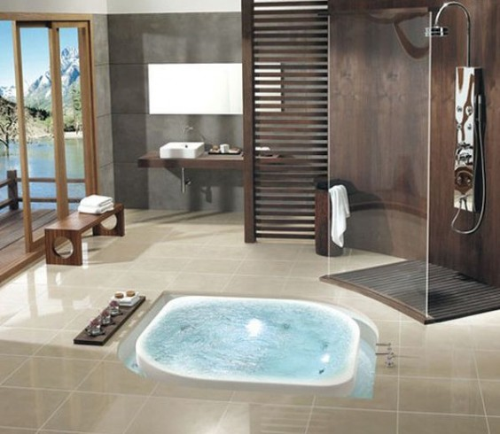 bathroom with jacuzzi and shower designs