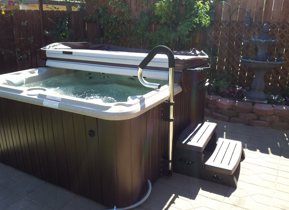 in ground hot tub covers round above tubs spas landscape ideas
