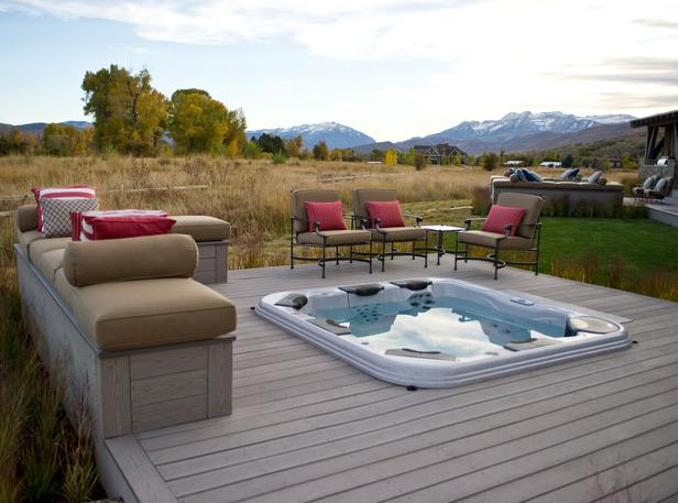 Deck plans with hot tub pool design ideas for Hot tub deck designs plans