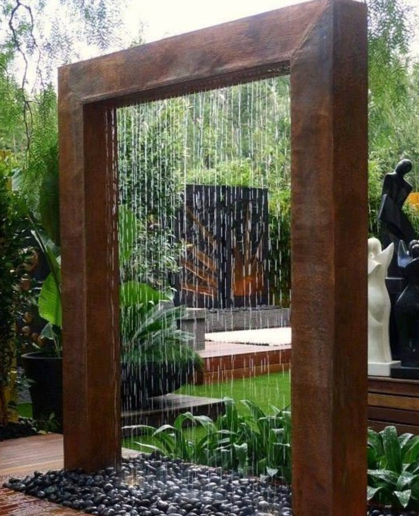 diy outdoor water wall fountain pool design ideas