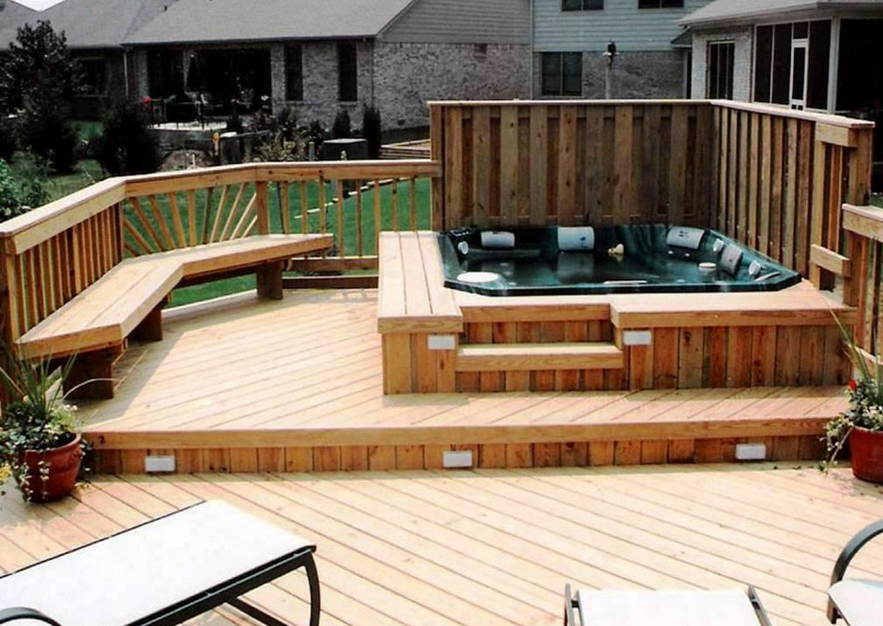 hot tub decking ideas pool design ideas