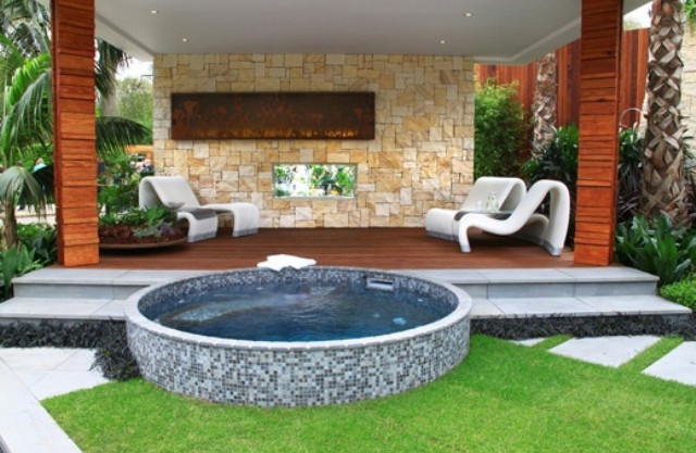 Hot tub design ideas photos pool design ideas for Pool design with hot tub