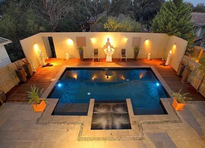 In ground pool deck lighting pool design ideas for In ground pool deck ideas