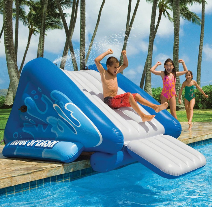 Inflatable above ground pool slides pool design ideas for Toboggan gonflable piscine