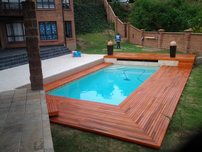 Inground Pool With Wood Deck Pool Design Ideas