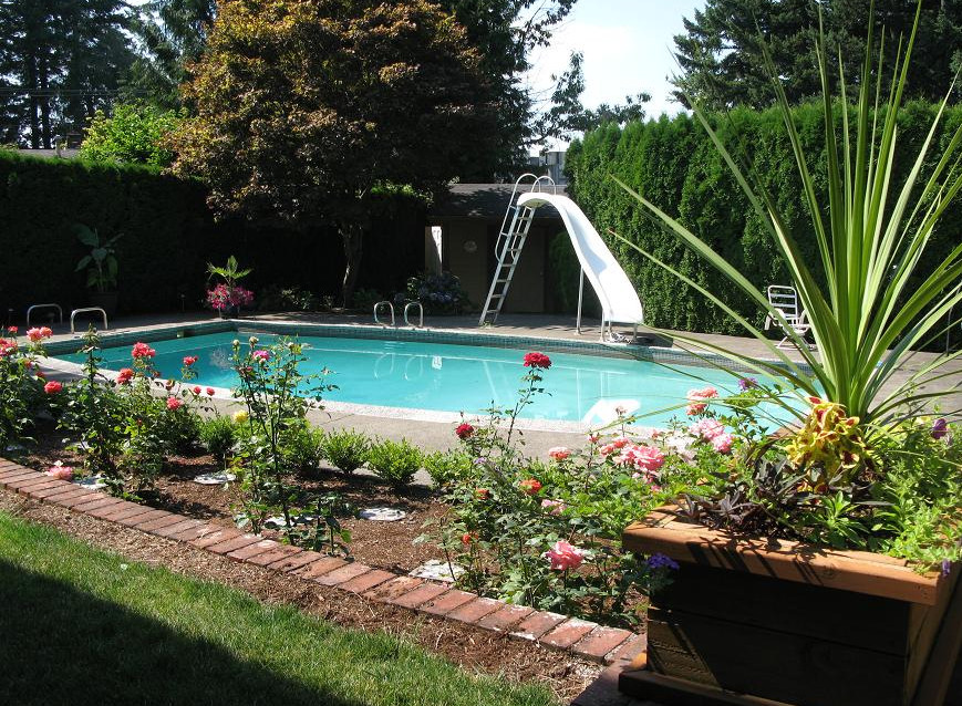 Semi inground swimming pools nj joy studio design for Pool landscape design ideas