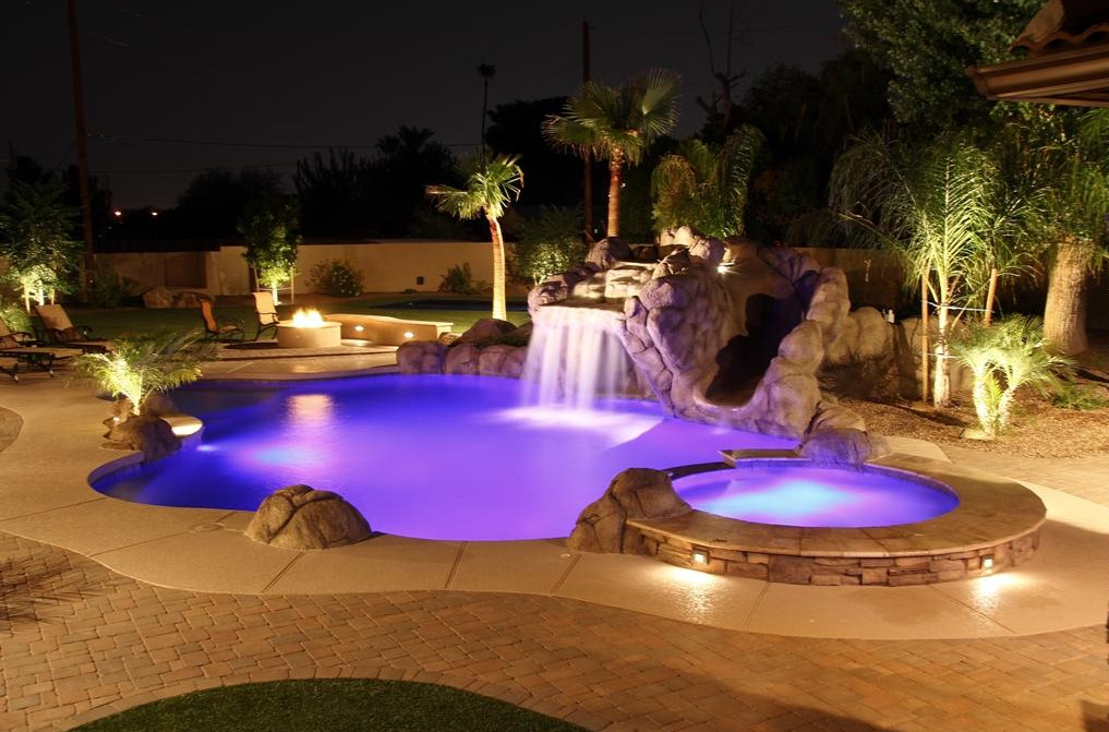 Luxury pool spa pool design ideas for Pool design with hot tub