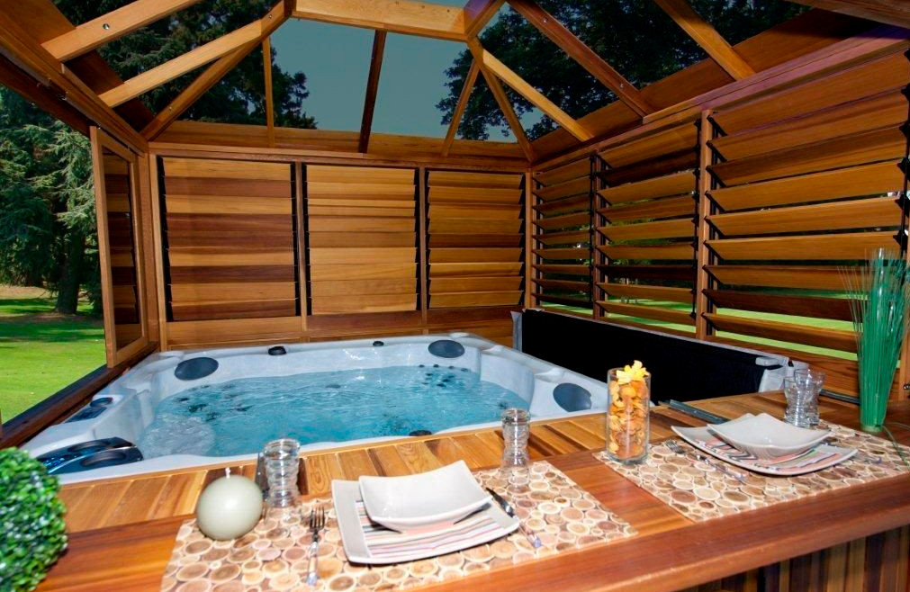 Outdoor hot tub privacy ideas pool design ideas for Pool design with hot tub
