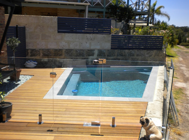 Semi inground pool deck ideas pool design ideas for In ground pool deck ideas