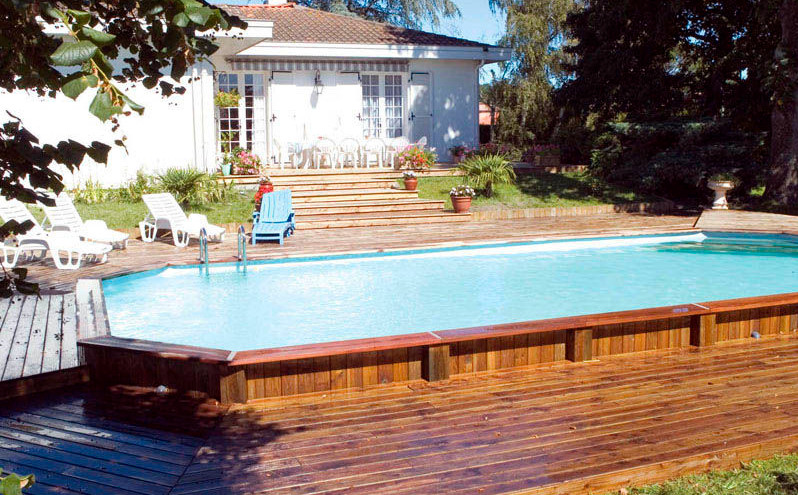 Perfect semi inground pool ideas for the home owners for In ground pool deck ideas
