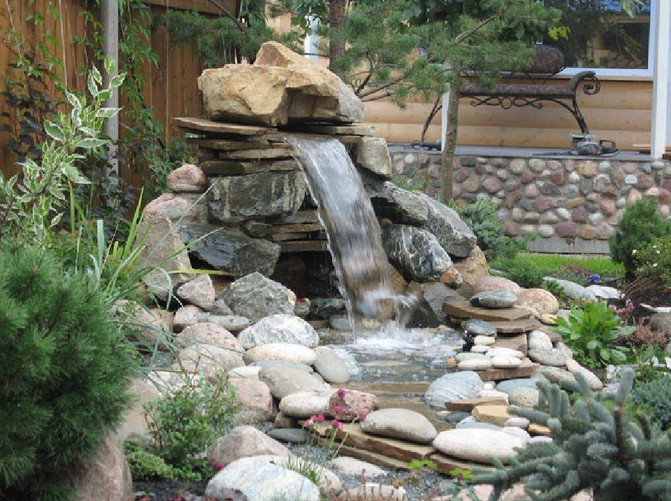 Small yard ponds and waterfalls pool design ideas for Yard ponds and waterfalls