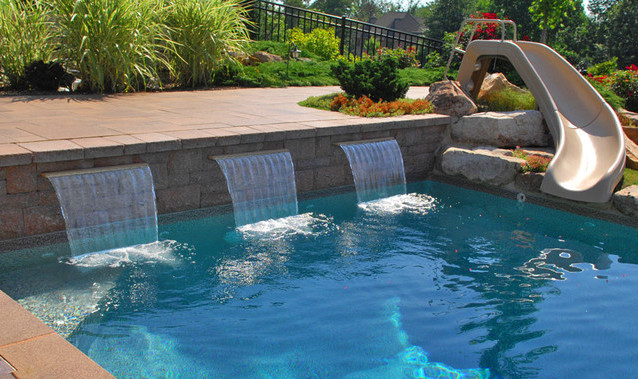 luxury above ground swimming pools with waterfalls