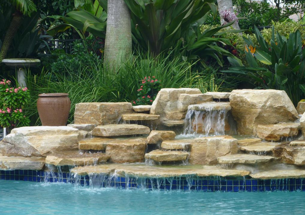 Swimming pool waterfall designs pool design ideas for Home garden waterfall design