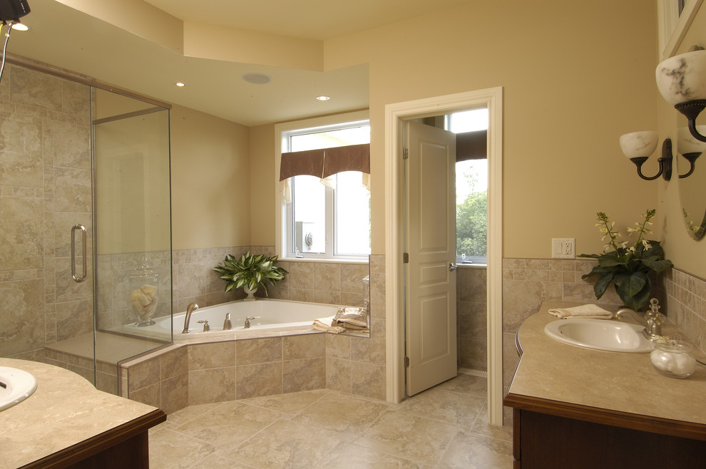 Corner Tub and Shower Combo