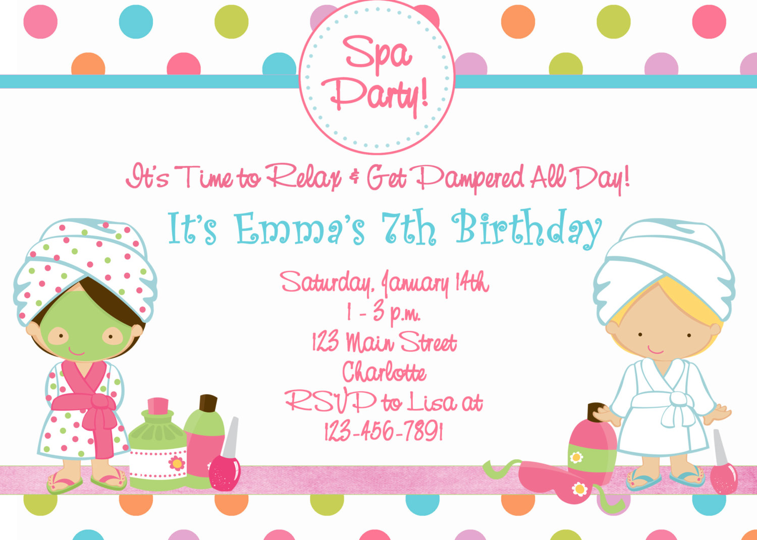 free printable spa birthday party invitations - Gidiye ...