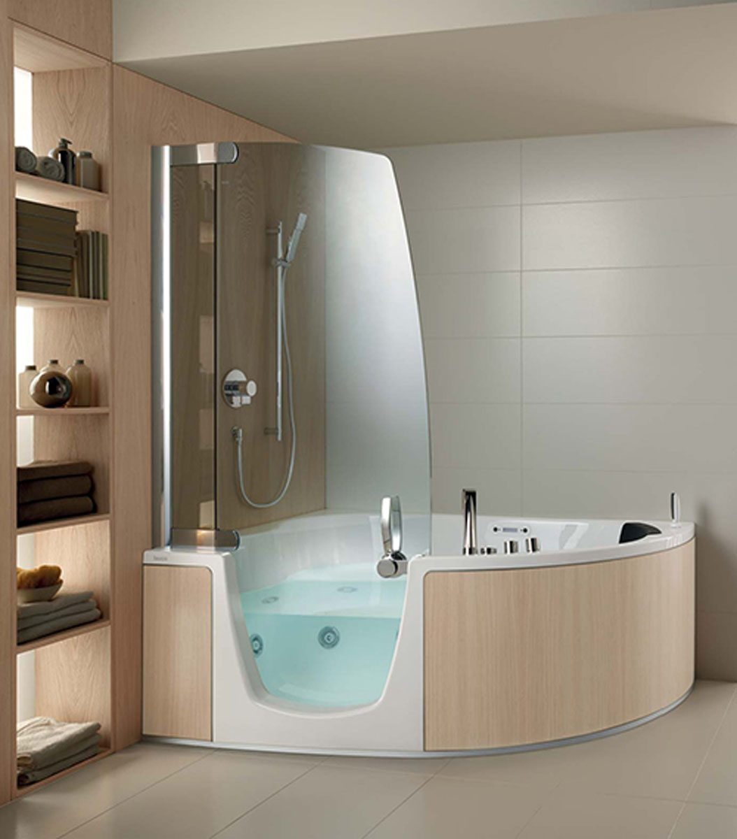 Small Corner Bathtub With Shower | Pool Design Ideas
