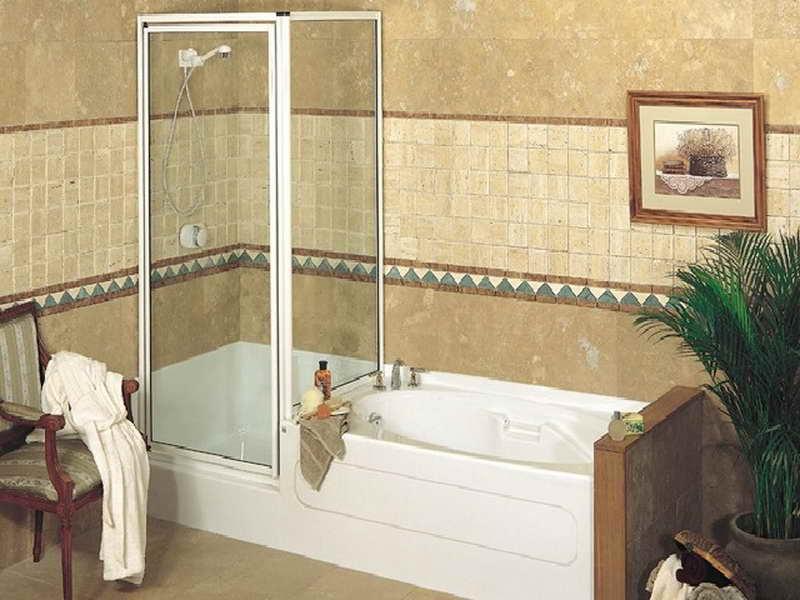 small corner tub shower combo | pool design ideas Tub Shower Design Ideas