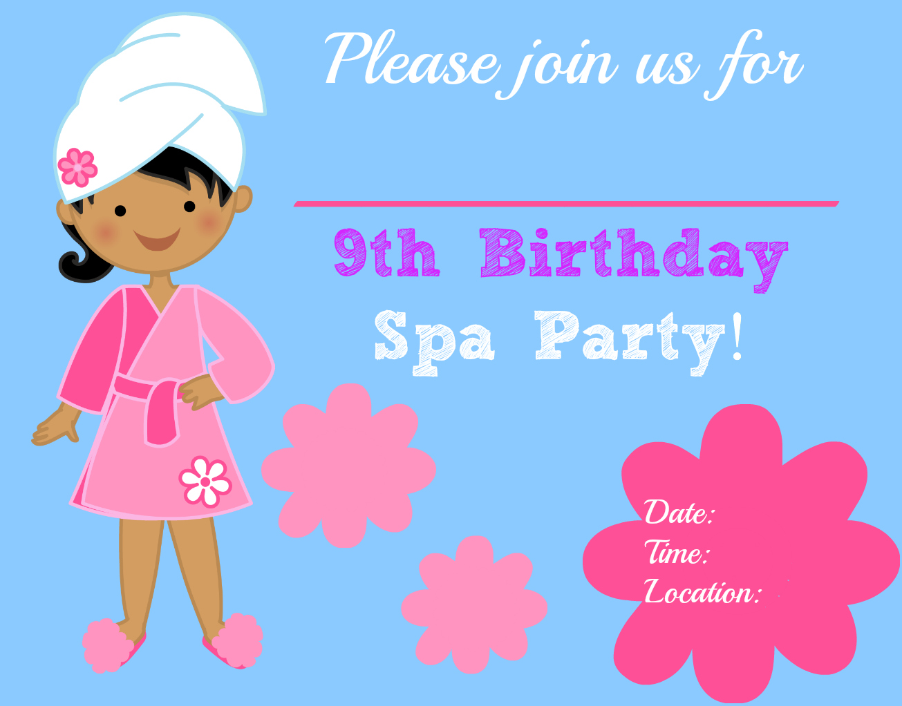 Spa Birthday Party Invitations Free Printable